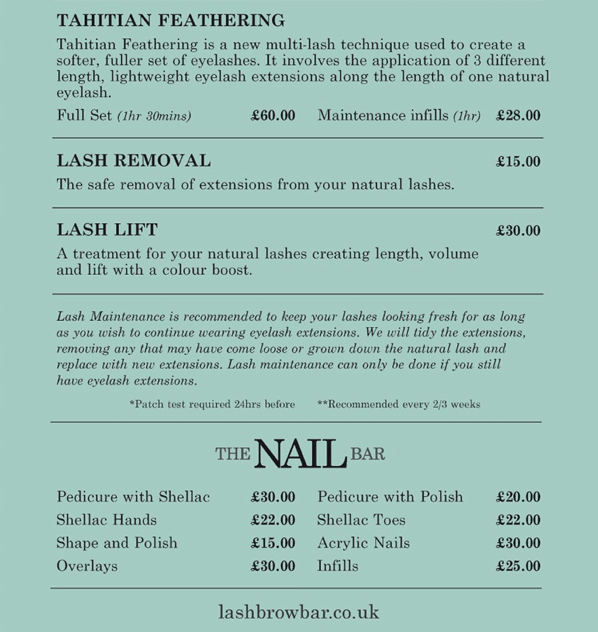 The Lash & Brow Bar Price List